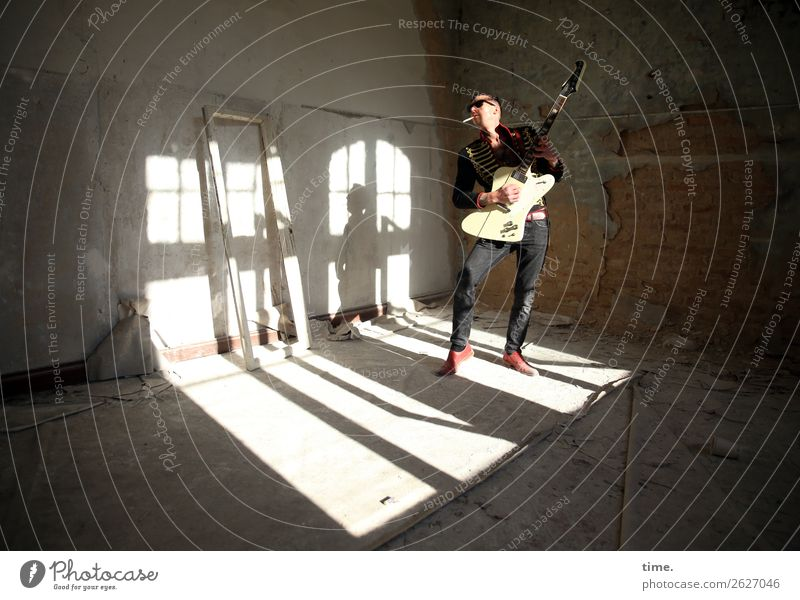 GuitarMan Room Masculine Adults 1 Human being Music Stage Musician Ruin lost places Sunglasses Brunette Short-haired To hold on Smoking Playing Stand Dark