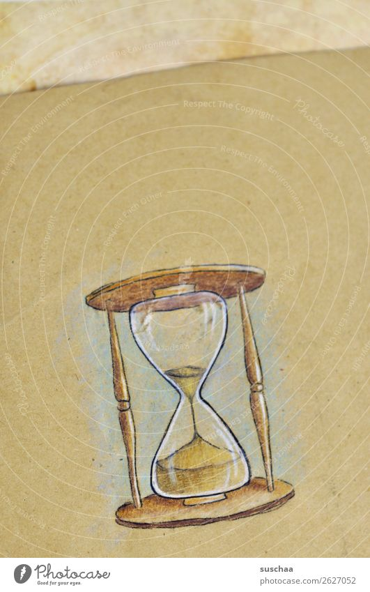 the countdown is running ... Hourglass Painted Drawing Paper Time Clock timepiece Symbols and metaphors Art Artist Idea Sand Glass Seep Offense Haste Stress
