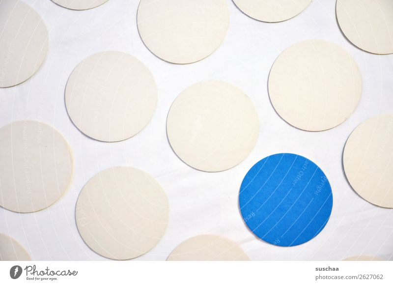 the blue dot Round Circle Point Colour White Blue Symbols and metaphors Associative Center point exception Outsider Marginal group Stick out Protruding