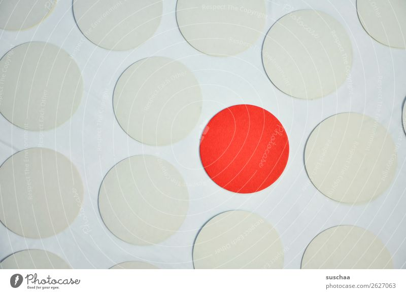 the red dot Round Circle Point Colour White Red Symbols and metaphors Associative Center point exception Outsider Marginal group Stick out Protruding