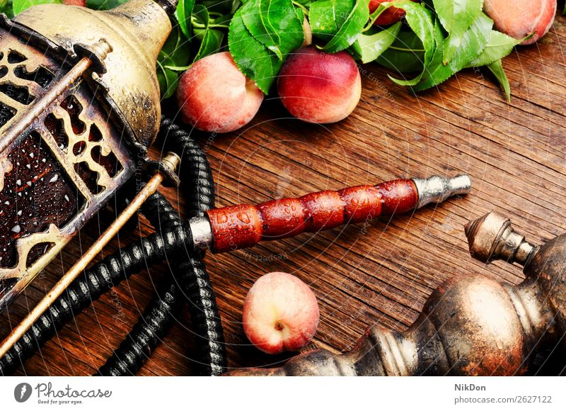 Eastern shisha with peach hookah fruit tobacco nargile smoke nicotine smoking east relaxation arabic mouthpiece deluxe pipe fragrant hookah with peach style