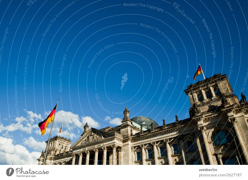 The Bundestag Architecture Berlin Reichstag Germany German Flag Democracy Democratic Euro Europe Worm's-eye view Capital city Sky Heaven Downtown