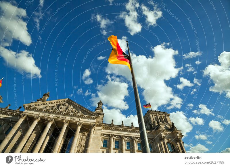 German Bundestag Architecture Berlin Reichstag City Germany German Flag Worm's-eye view Capital city Sky Heaven Downtown Downtown Berlin Parliament Government