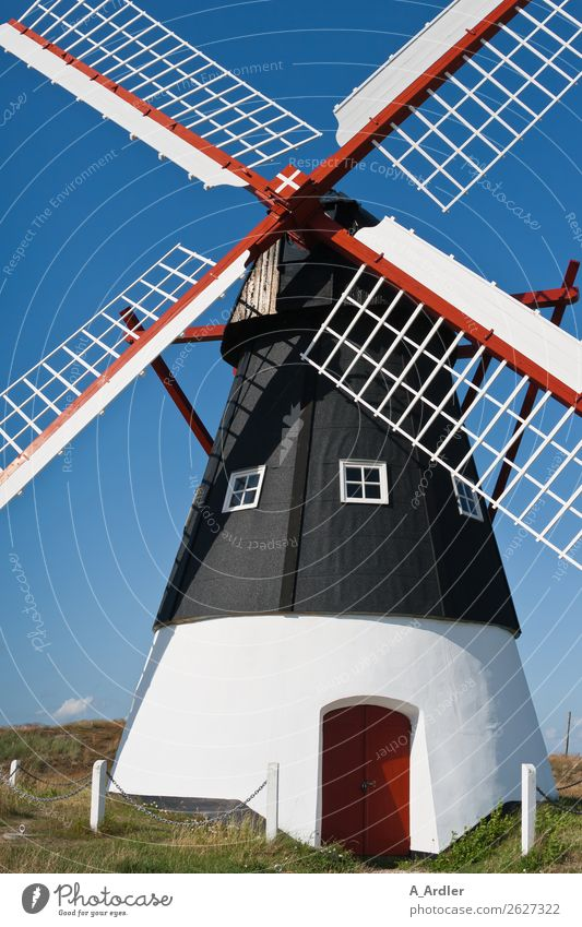 mill Vacation & Travel Mill Village Manmade structures Historic Beautiful Blue Red Black Denmark Colour photo Exterior shot Day Sunlight Deep depth of field