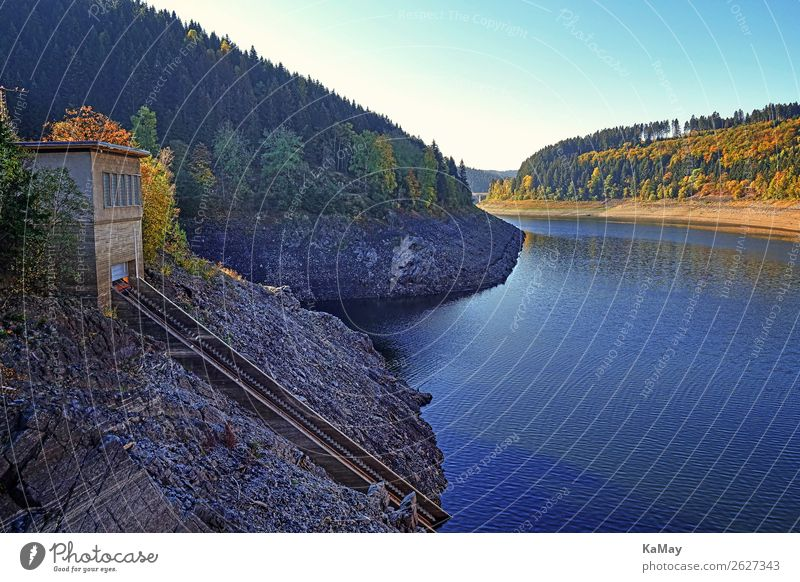 Okerstausee in autumn Energy industry Hydroelectric  power plant Environment Nature Landscape Water Sunlight Autumn Beautiful weather Forest Mountain Harz Lake