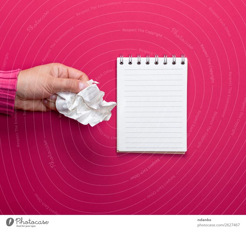 female hand holding a white crumpled sheet of paper School Office Business Hand 1 Human being 18 - 30 years Youth (Young adults) Adults Book Paper Touch
