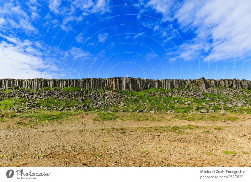The basalt gerduberg cliffs located in west iceland Summer Island Mountain Nature Landscape Clouds Rock Volcano Stone Natural Iceland Cliff scenery Basalt
