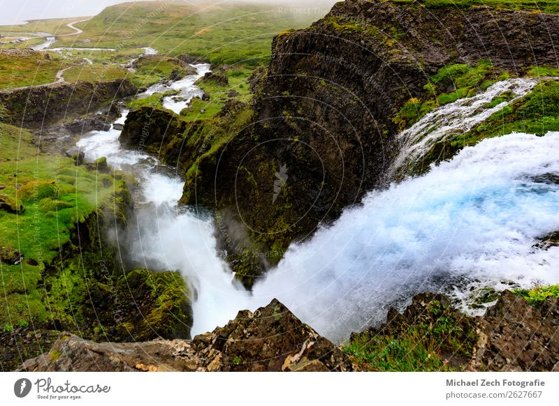 View down from Dynjandi waterfall in the westfjords Beautiful Vacation & Travel Adventure Sightseeing Mountain Human being Man Adults Nature Landscape Water