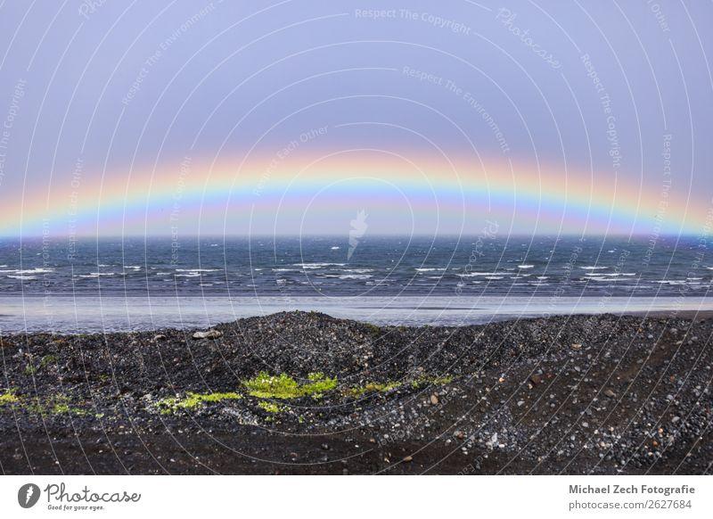 Rainbow over the atlantic ocean during summer Beach Ocean Winter Mountain Landscape Sky Clouds Horizon Coast Hiking Iceland Body of water calm