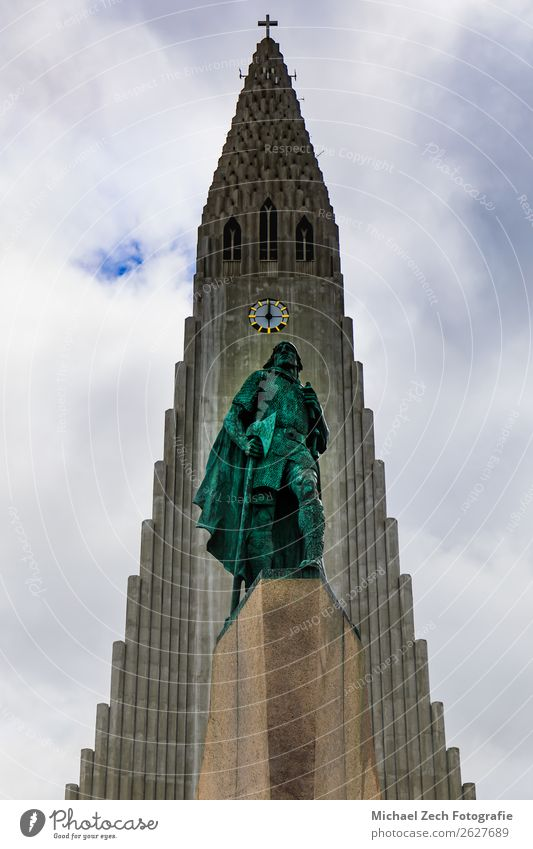 statue of Lief Erikson in front of the Hallgrimskirkja church Beautiful Vacation & Travel Tourism Trip Clock Nature Sky Downtown Church Building Architecture