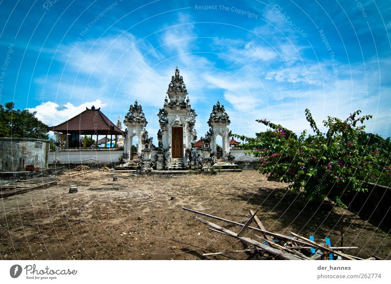 the spirits of the temple Art Sculpture Architecture Culture Temple Hinduism Bali Environment Sky Clouds Beautiful weather Exotic Volcano Indonesia