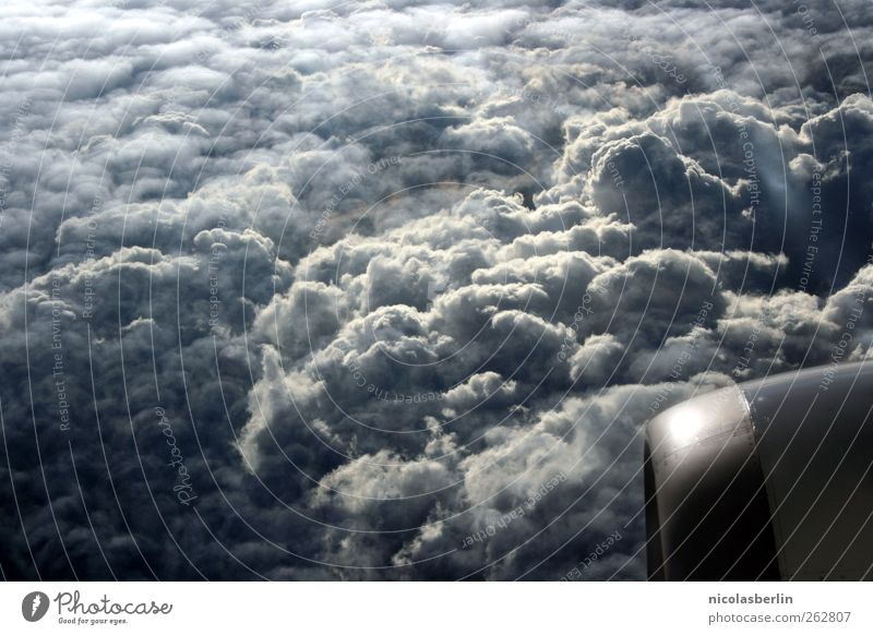 Sky Vacation & Travel Clouds Environment Freedom Weather Flying Airplane Aviation Storm Gale Storm clouds Engines Cloud cover View from the airplane