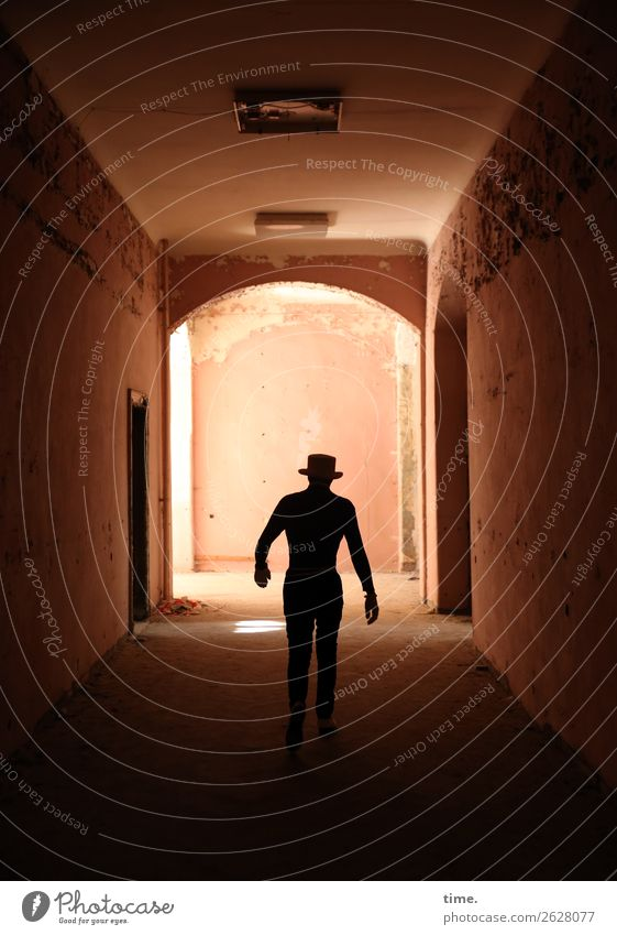 Lost Place Walking Hallway Masculine Man Adults 1 Human being Ruin Architecture lost places Wall (barrier) Wall (building) Door Hat Going Dark Historic Muscular