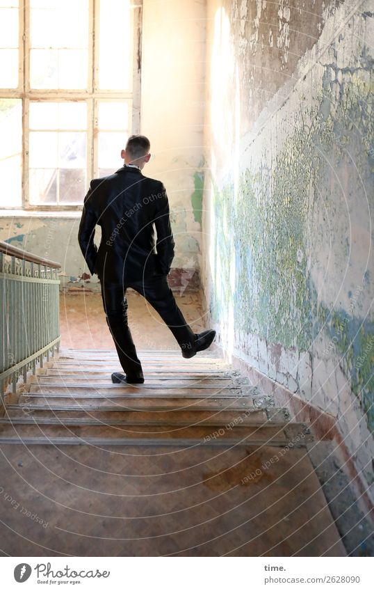 staircase joke Masculine Man Adults 1 Human being Ruin Architecture Wall (barrier) Wall (building) Stairs Window Banister lost places Suit Brunette Short-haired