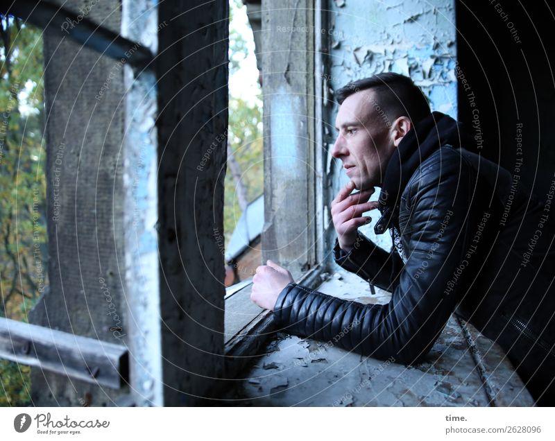 Human being Man Town Window Dark Adults Wall (building) Cold Wall (barrier) Think Masculine Wait Broken Observe Historic Curiosity