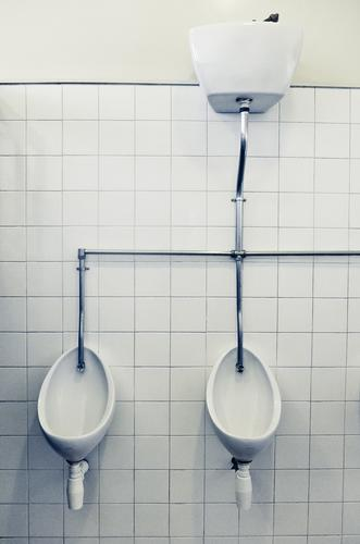0 0 Interior design Bathroom Wall (barrier) Wall (building) Old Retro Tile Toilet Urinal Pipe Clean Iron-pipe White Public restroom Colour photo Interior shot