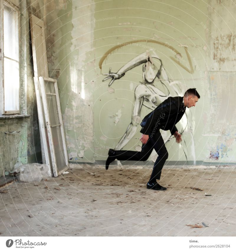 Kind of magic Room Masculine Man Adults 1 Human being Ruin Wall (barrier) Wall (building) Window lost places Suit Brunette Short-haired Graffiti Walking Running