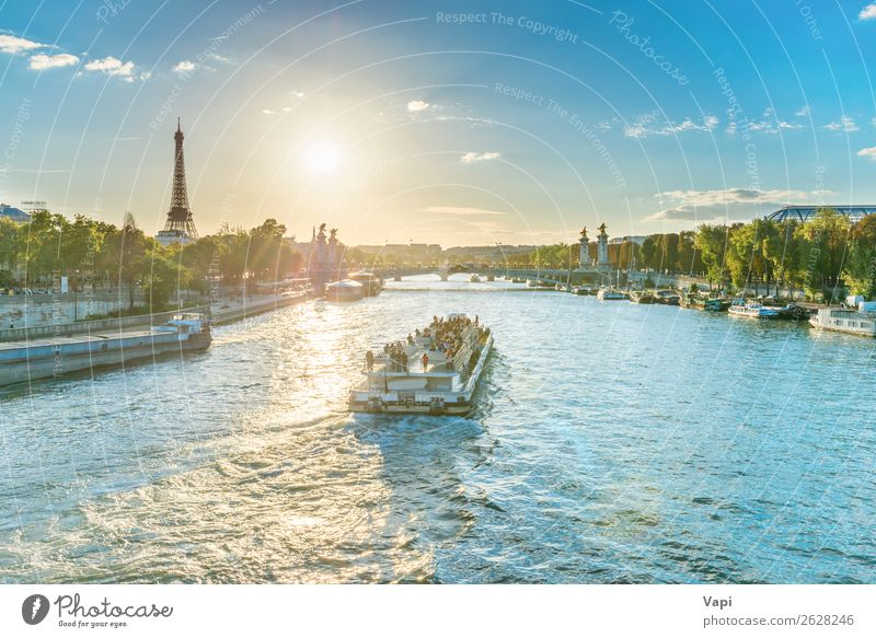 Beautiful sunset with Eiffel Tower Vacation & Travel Tourism Trip Adventure Far-off places Sightseeing City trip Cruise Summer Summer vacation Sun Human being