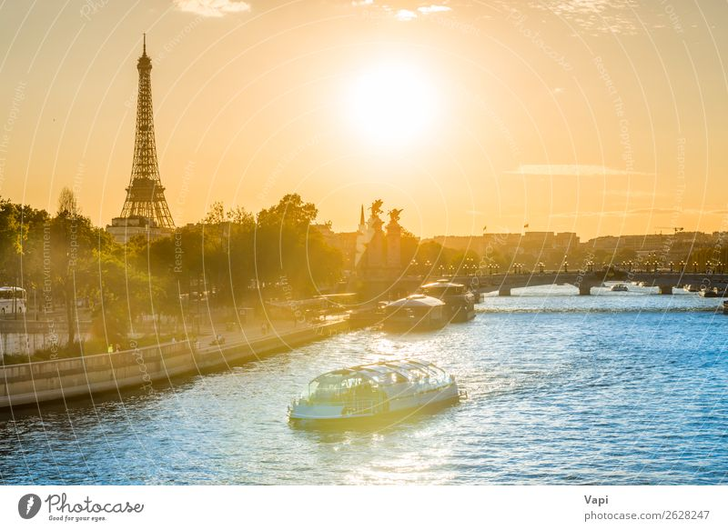 Beautiful sunset with Eiffel Tower Sky Vacation & Travel Summer Blue Town Green Water Landscape White Red Sun Tree Clouds Black Architecture