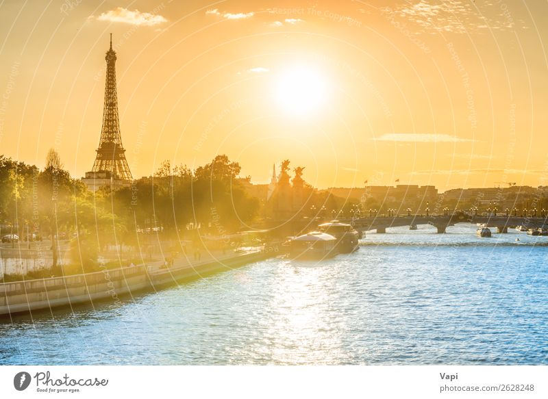 Beautiful sunset with Eiffel Tower Sky Vacation & Travel Summer Blue Town Green Water Landscape White Red Sun Tree Clouds Far-off places Black