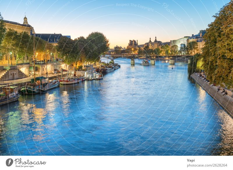 Paris at night - sunset over Seine river Sky Vacation & Travel Nature Summer Blue Town Green Water Landscape White Tree House (Residential Structure) Black