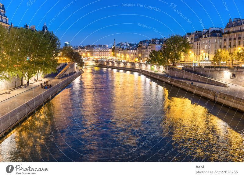 Paris at night - sunset over Seine river Sky Vacation & Travel Blue Town Green Water Landscape White Red Tree House (Residential Structure) Black Street