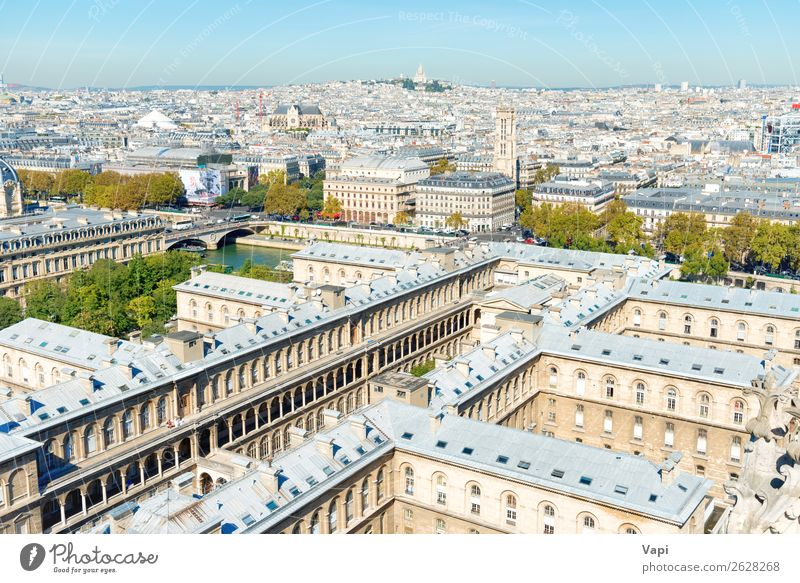 Paris cityscape with aerial architecture Beautiful Vacation & Travel Tourism Sightseeing City trip Summer vacation Architecture Landscape Sky Cloudless sky