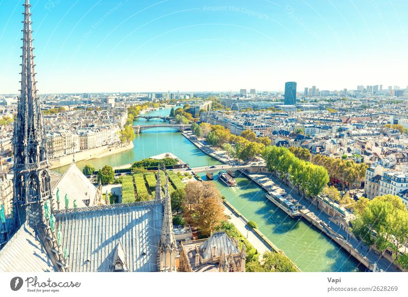 Paris cityscape with Seine river Sky Vacation & Travel Old Summer Blue Town Beautiful Green Landscape White Tree Far-off places Black Street Architecture Autumn
