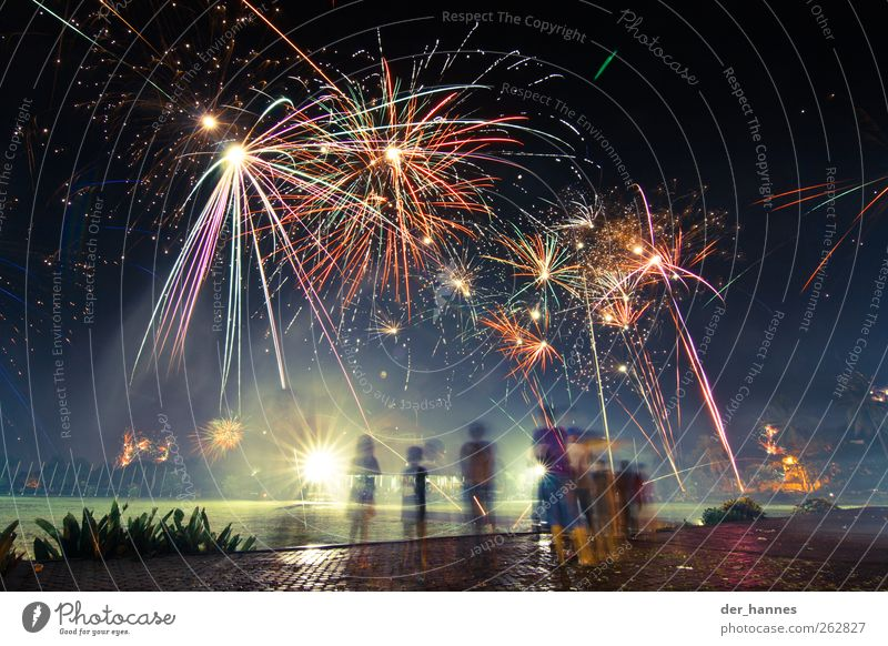 Beautiful Group Illuminate Observe Group of children Event Firecracker Gigantic Night life Night shot Events
