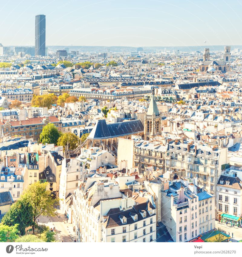 Paris cityscape with aerial architecture Sky Vacation & Travel Summer Blue Town Beautiful Green Landscape White Tree Far-off places Black Street Architecture