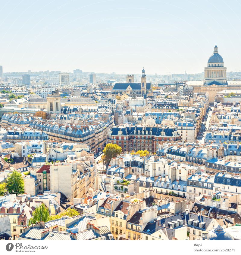 Paris cityscape with aerial architecture Sky Vacation & Travel Summer Blue Town Beautiful Landscape White Tree House (Residential Structure) Joy Far-off places