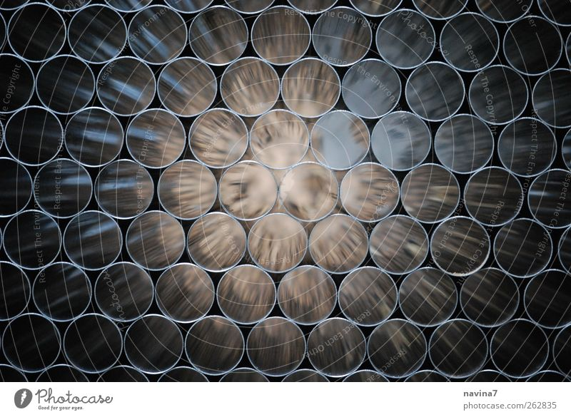 tunnel vision Industry Craft (trade) Technology Pipe Metal Steel Glittering Brown Silver Circle Speed Tunnel Colour photo Subdued colour Interior shot Close-up