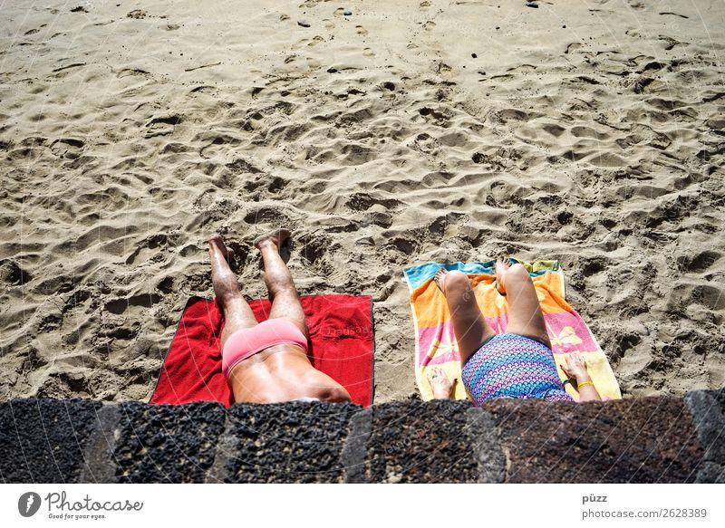sunbath Vacation & Travel Summer Summer vacation Sun Sunbathing Beach Ocean Human being Masculine Feminine Woman Adults Man Female senior Male senior