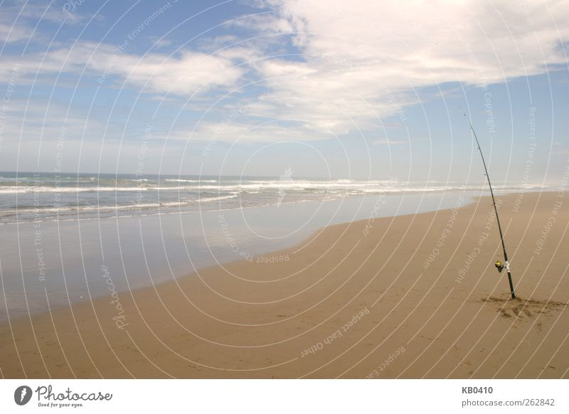 Just a fishing rod Fishing (Angle) Sand Water Sky Horizon Summer Waves Ocean Swimming & Bathing Blue Brown Contentment Calm Freedom Colour photo Exterior shot