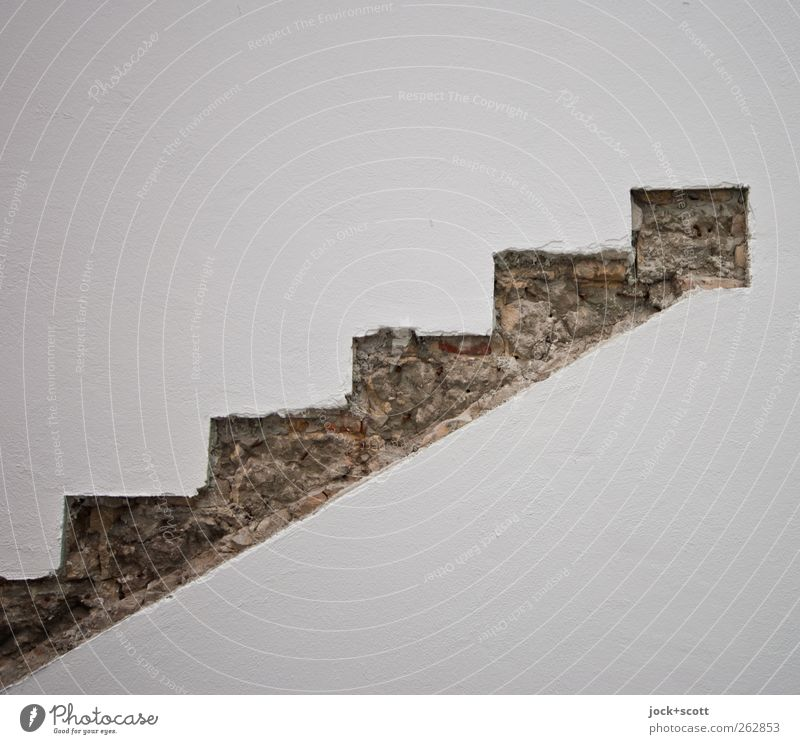 Stairs to the past Wall (building) Brick Authentic Simple Historic White Esthetic Creativity Style Symmetry Visible True to scale Pecking order Rest of a wall
