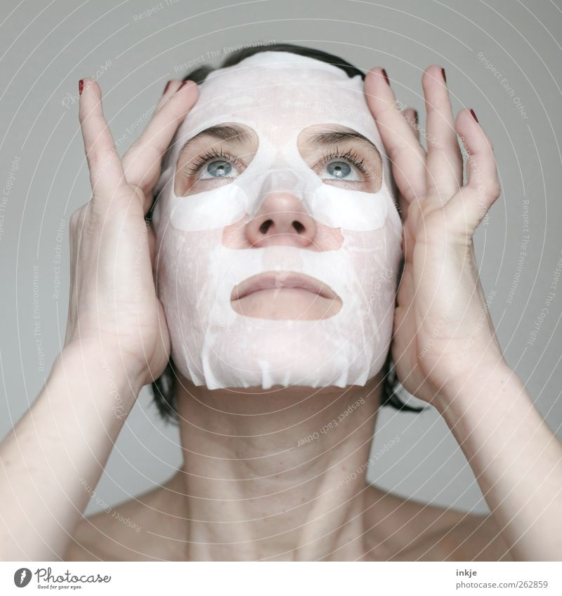 When the paint's off, Mrs. Mask! Beautiful Personal hygiene Skin Face Cosmetics Face mask Wellness Senses Relaxation Cure Woman Adults Hand To enjoy Cleaning