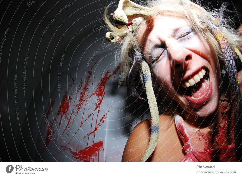 bloody partyVII Red Face Feminine Emotions Hair and hairstyles Funny Blonde Dirty Crazy Young woman Teeth To fall Anger Scream Passion Fear of death