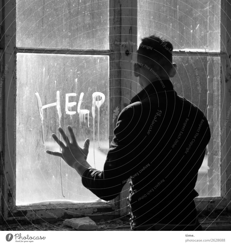 Human being Man Window Dark Adults Sadness Room Fear Masculine Characters Stand Broken Historic Help Sign Hope