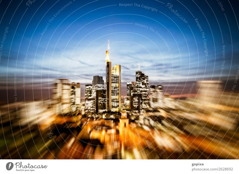 Skyline of Frankfurt am Main with zoom effect office Economy Financial Industry Business Town Downtown High-rise built Architecture Speed Flexible Movement