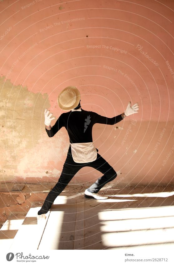 Acting (III) Masculine Man Adults 1 Human being Art Actor Dancer Ruin lost places Wall (barrier) Wall (building) Stairs Hallway Suit Bow tie Gloves Footwear Hat