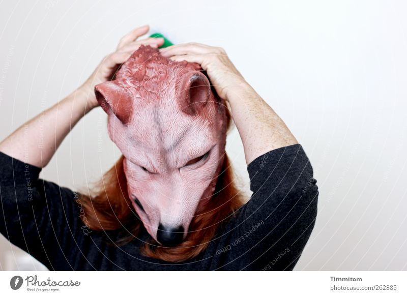 Give it space now! Human being Feminine Woman Adults Hair and hairstyles Arm 1 Sweater Mask Red-haired Wolf Crazy Gray Green Black Emotions Moody Joy