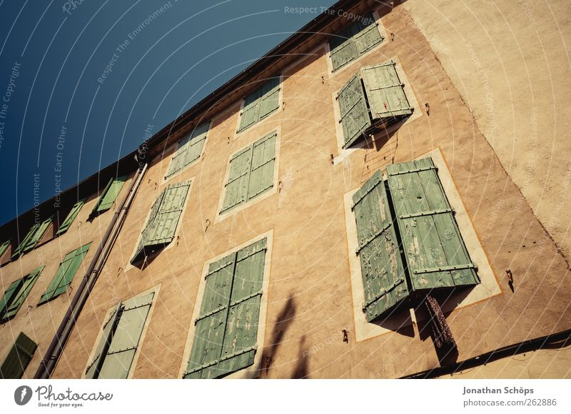 Narbonne IV Southern France Town Old town Deserted House (Residential Structure) Manmade structures Building Architecture Facade Blue Brown Green Upward