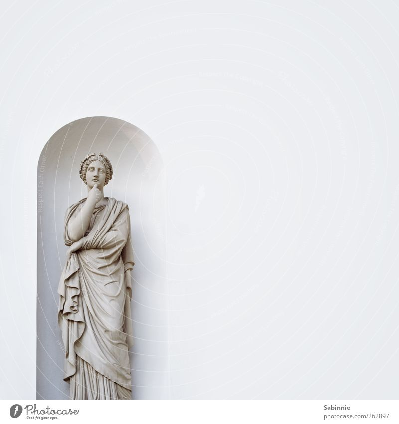White Beautiful Calm Face Wall (building) Architecture Gray Wall (barrier) Stone Think Dream Clothing Meditative Dress Wrinkles Statue