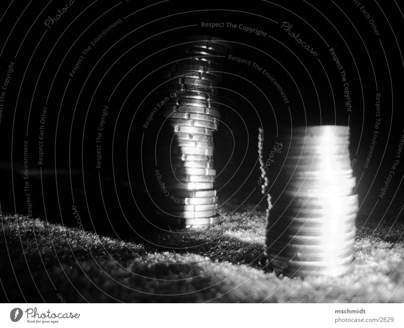 money, money, money Money Heap Coin Cent Night Things Euro Black & white photo