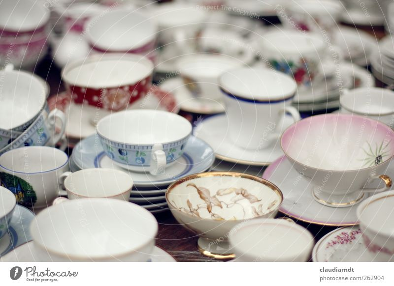 Old White Uniqueness Kitchen Many Kitsch Crockery Cup Plate Collection Difference Mixture Flea market Coffee cup Odds and ends Porcelain