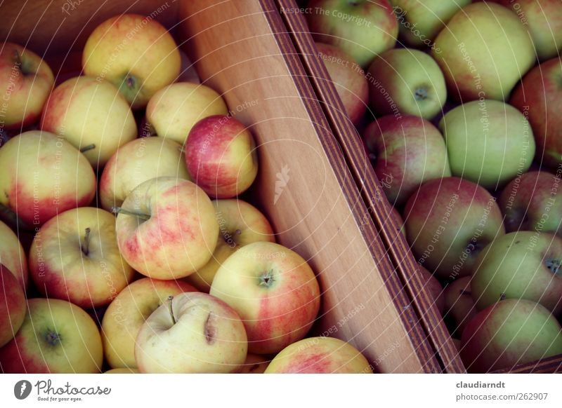 Green Red Nutrition Healthy Fruit Fresh Apple Healthy Eating Harvest Delicious Mature Organic produce Crate Juicy Goods Vegetarian diet