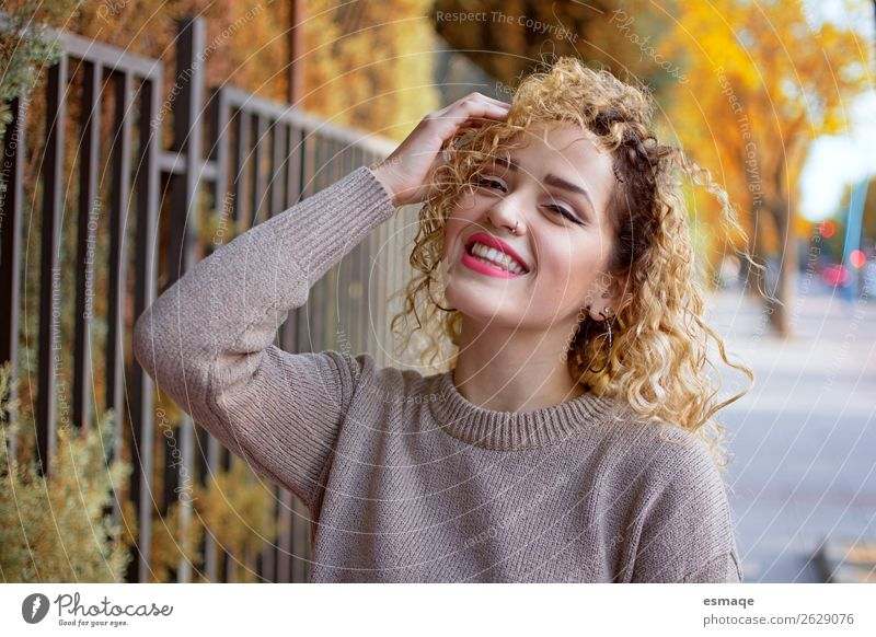 smiling young woman Lifestyle Joy Health care Wellness Human being 1 Nature Garden Park Accessory Jewellery Piercing Curl To enjoy Smiling Laughter Friendliness