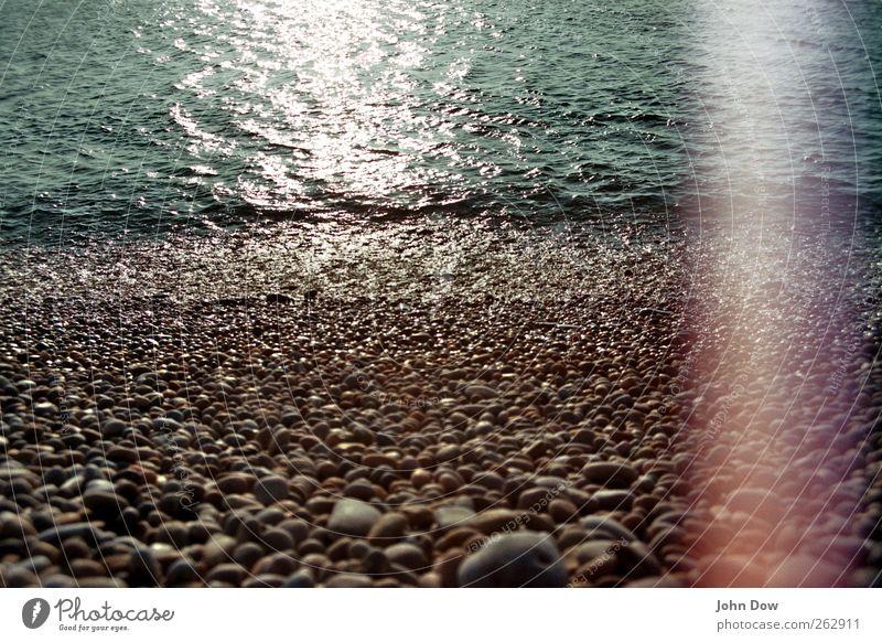 Ocean Far-off places Coast Island Retro Transience Fantastic Past Analog England Surface of water Pebble Stony Bleach Defective Light leak