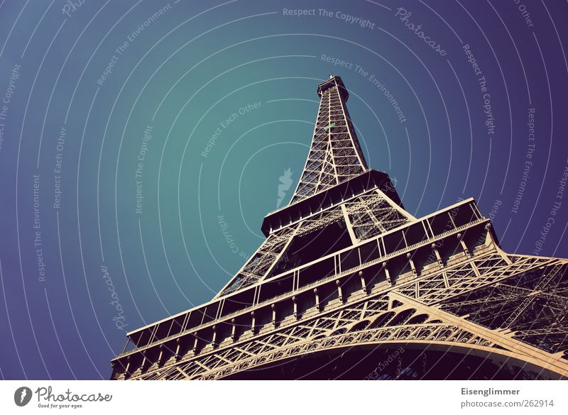 Eiffel Tower in May Paris France Europe Old Esthetic Iron Steel construction Sky Blue Blue sky Colour photo Exterior shot Deserted Copy Space left
