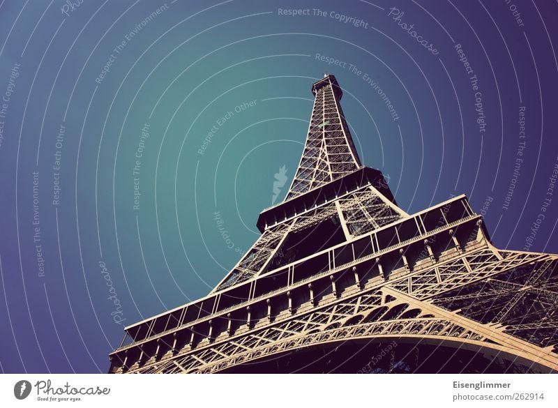 Sky Old Blue Esthetic Europe Paris France Iron Blue sky Eiffel Tower Steel construction